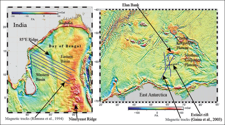Gravity maps of the Bay of Bengal (left) and Enderby Basin (right) with distinctive features labeled