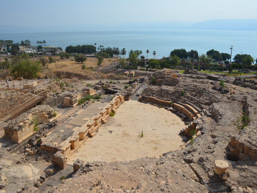 The ancient Roman theater of Tiberias looks out over the Sea of Galilee.