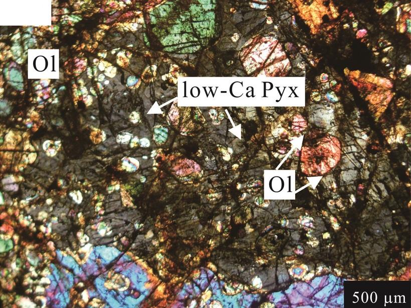Close up of granular structure of meteorite rock