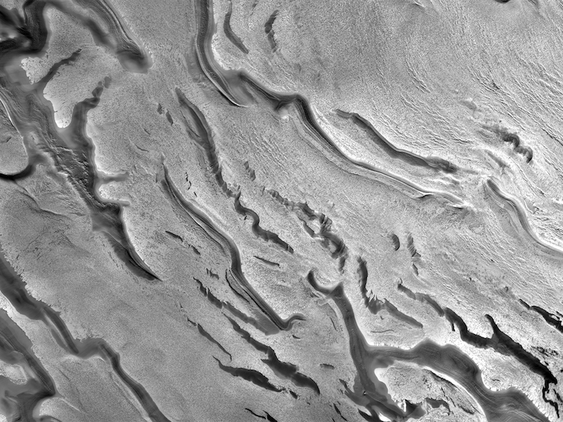 Close-up satellite view of carbon dioxide ice in Mars's south polar cap