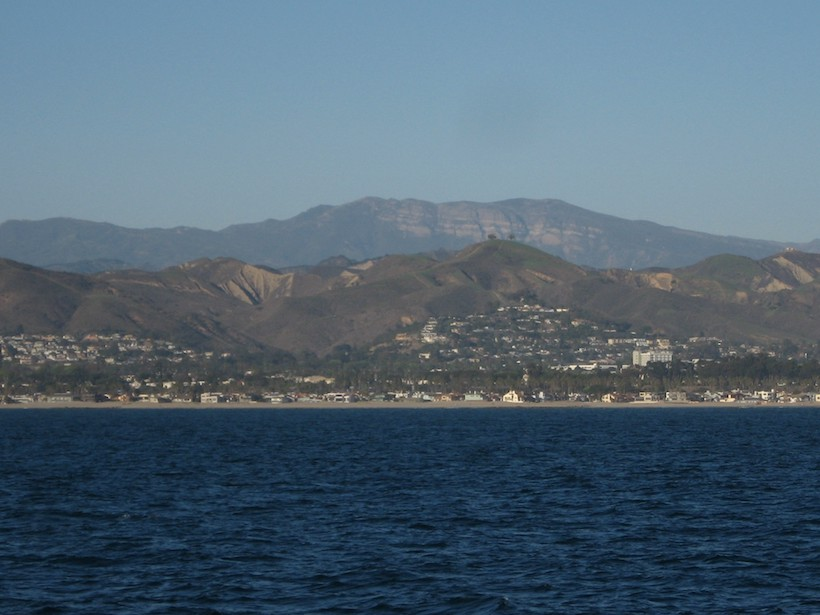 Santa Barbara Channel is seen in the foreground off the coast of Ventura, Calif.