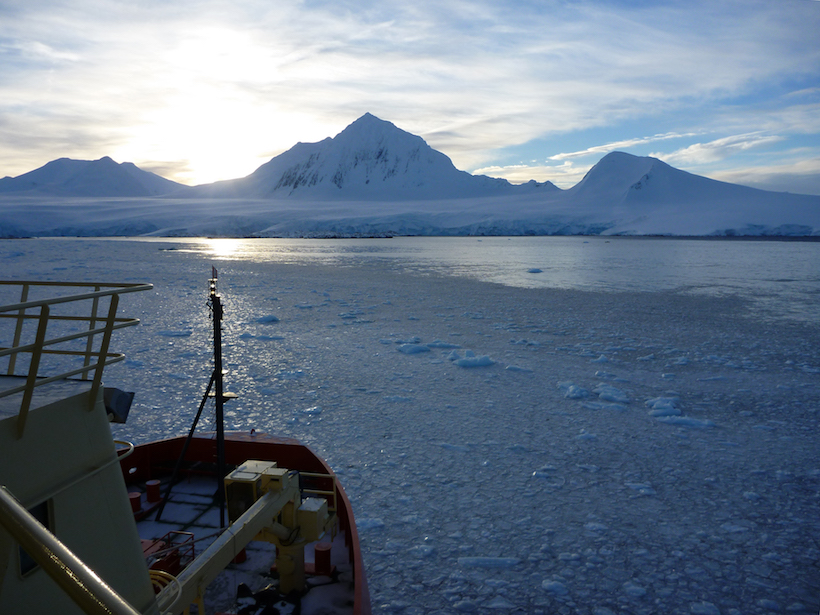 View of sea ice and part of the West Antarctic Peninsula from just offshore, with the bow of a research ship in the foreground