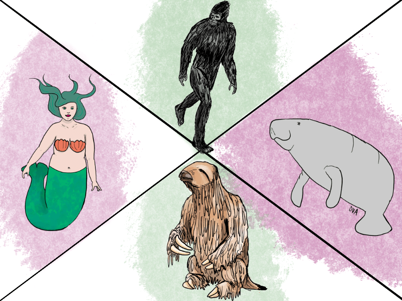 Illustrations of Bigfoot, a manatee, a giant sloth, and a mermaid