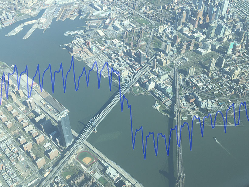 A view of New York City in March 2020 overlaid with a graph showing car emissions data before and after the lockdown.