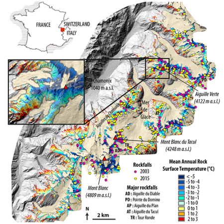 A graphical map of the distribution of rockfalls and permafrost distribution in the Mont Blanc massif for the hot years of 2003 and 2015