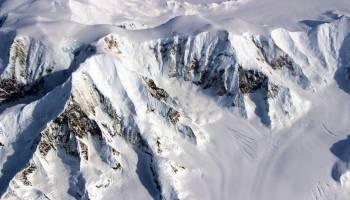 Satellite image of a mountainous Antarctic landscape