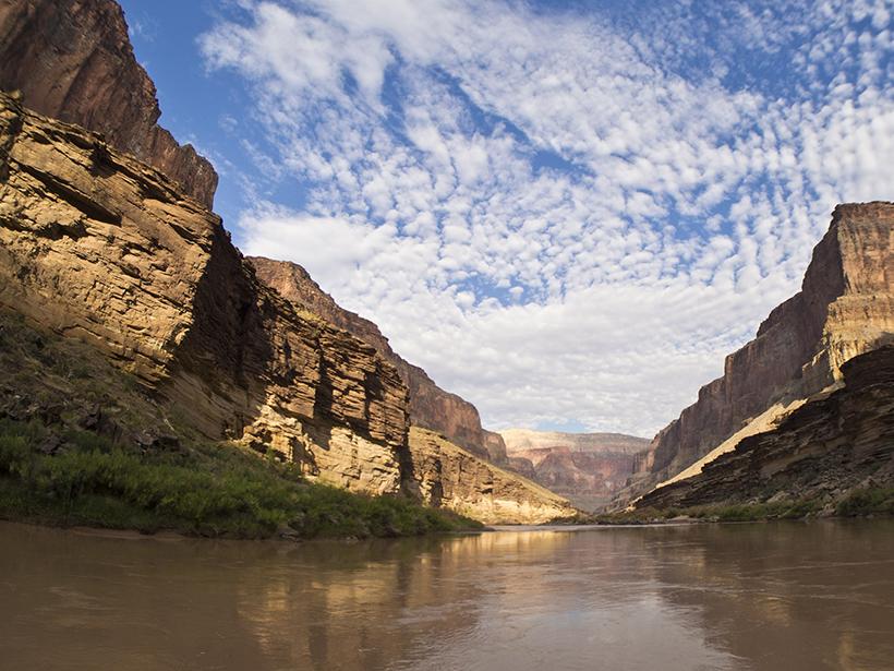 The Colorado River flows through the Grand Canyon in northwestern Arizona.