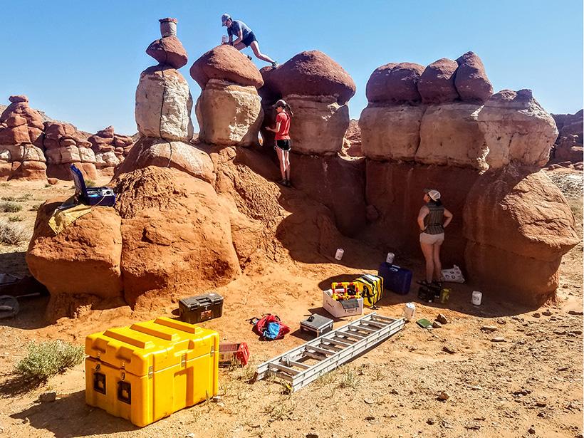 Scientists set up seismometers on rock columns in Utah.