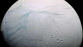 A Cassini image of Saturn's moon Enceladus with the four tiger stripes highlighted