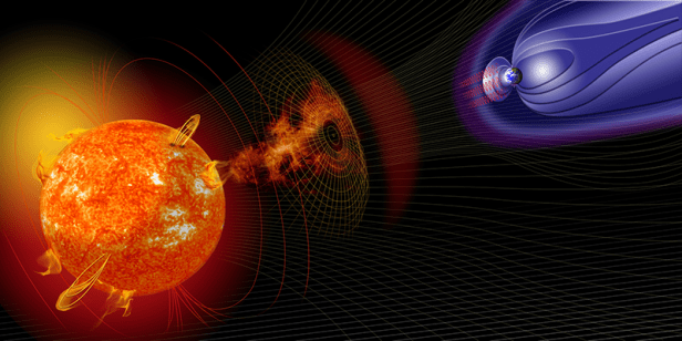 An artist's rendering of a solar flare leaving the Sun and approaching Earth