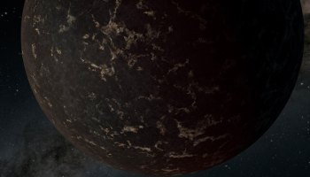 A dark, rocky exoplanet in front of a starry background