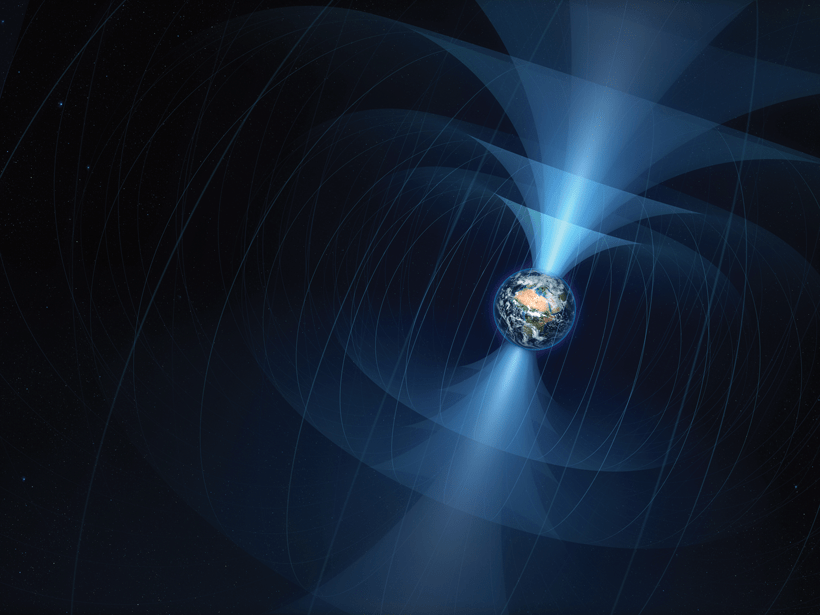A visualization of Earth and its magnetic field