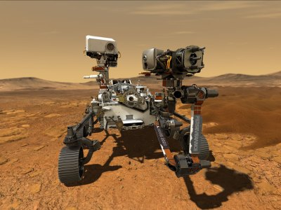 Artist's rendering of the Perseverance rover on Mars