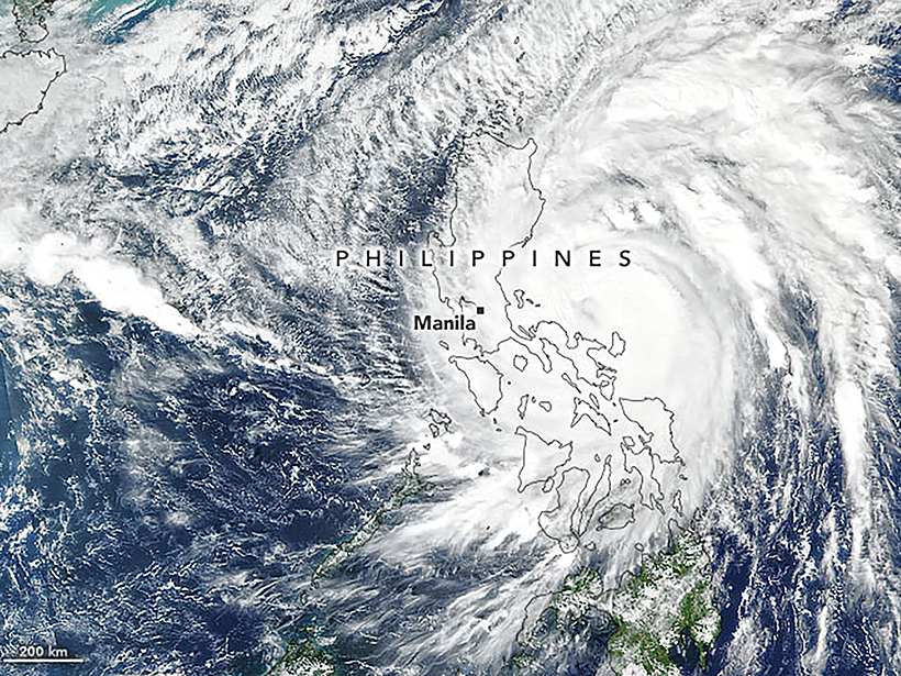 Satellite image of the Philippines being thrashed by Typhoon Vamco in November 2020
