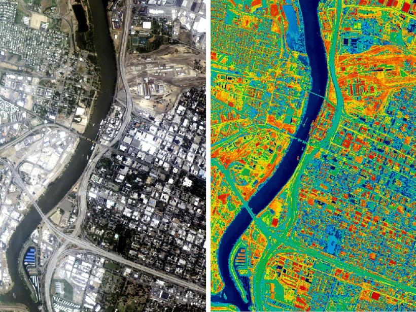 Visible-light and thermal-infrared photos of Sacramento showing heat distribution