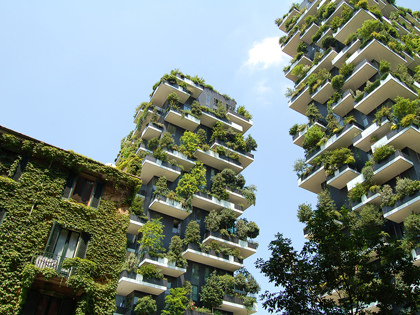 Living walls line Milan's Bosco Verticale apartment building