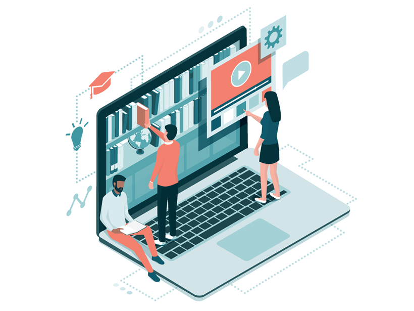 Abstract illustration of people standing or sitting on top of a laptop keyboard and participating in remote education
