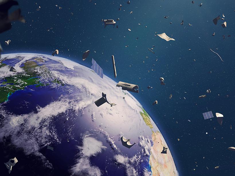 Illustration of a lot of debris orbiting Earth