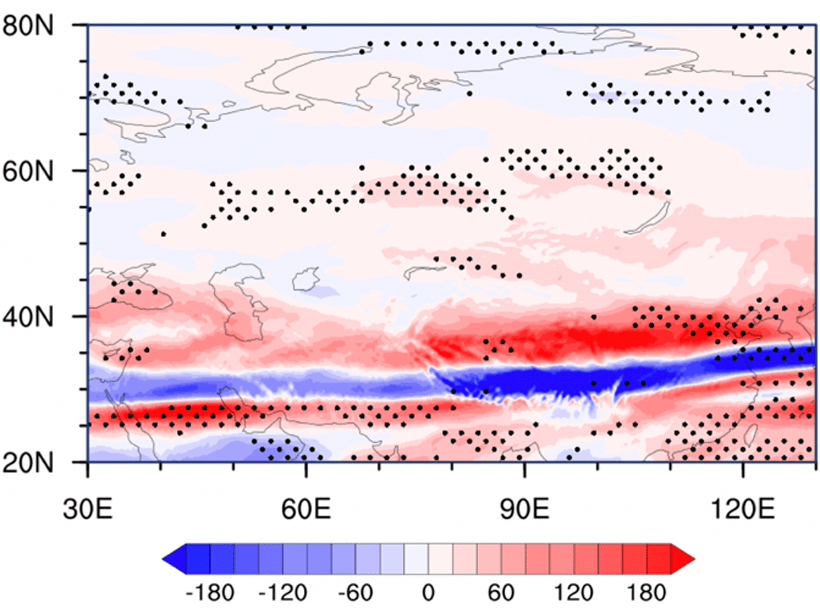 Map of northern Eurasia showing long-term trend of wintertime Turbulence Index 1