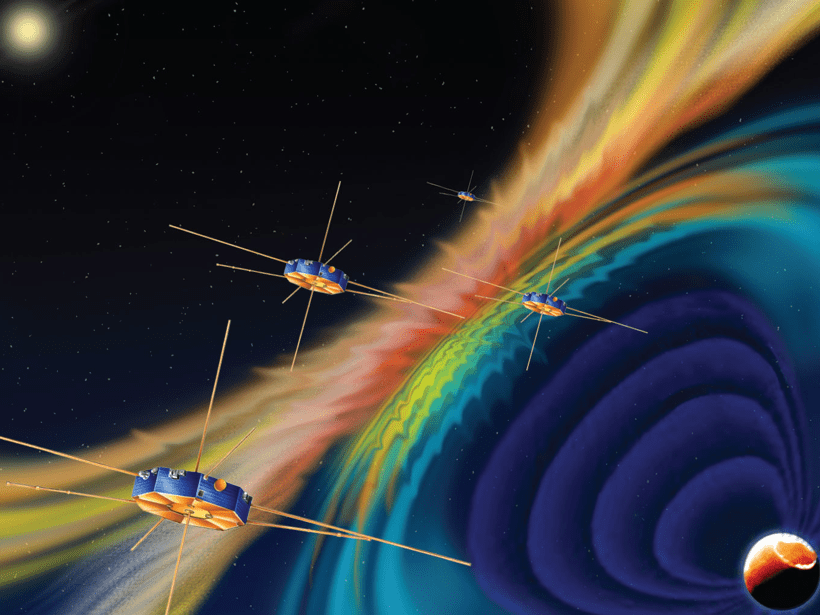 Illustration of the spacecraft of NASA's Magnetospheric Multiscale mission in space in front of reconnecting magnetic field lines