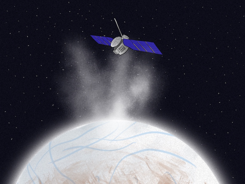 An artistic depiction of Europa Clipper flying through the plumes of Europa, studying the moon and searching for life.