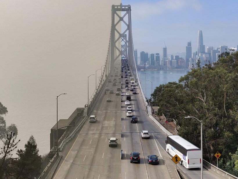 Side-by-side views showing the Bay Bridge in San Francisco during the Camp Fire in 2018, with smoke filling the sky, and before the fire, with clear skies