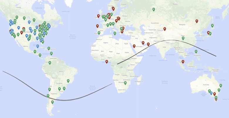 Map showing locations of ham radio stations that participated in Festival of Frequency Measurement events