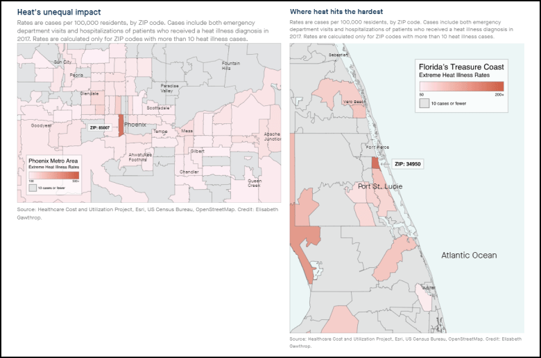 Maps of ZIP codes and instances of heat illness in Phoenix and Fort Pierce, Fla.