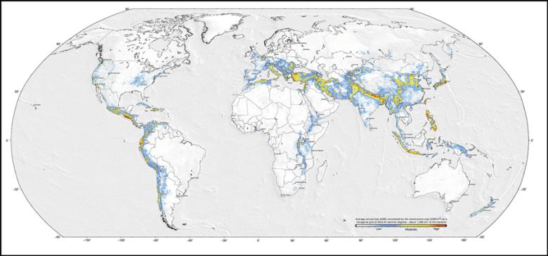 Global seismic exposure model representing average annual losses of building replacement cost.