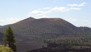 A view of Sunset Crater, one of many scoria cones in the San Francisco volcanic fields spanning northern Arizona