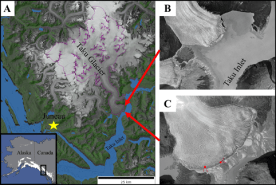 Figure showing locations of the Taku Glacier terminus in 1948 and 2018