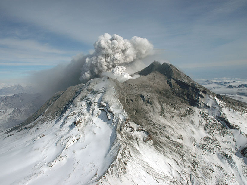 Redoubt Volcano on the west side of Cook Inlet, Alaska, erupts in March 2009.