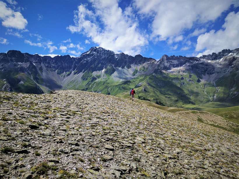 Ethan Baxter walks ahead in Valpelline, a valley in the Western Alps in Italy as part of the 2017 ExTerra Field Institute and Research Endeavor, or EFIRE.
