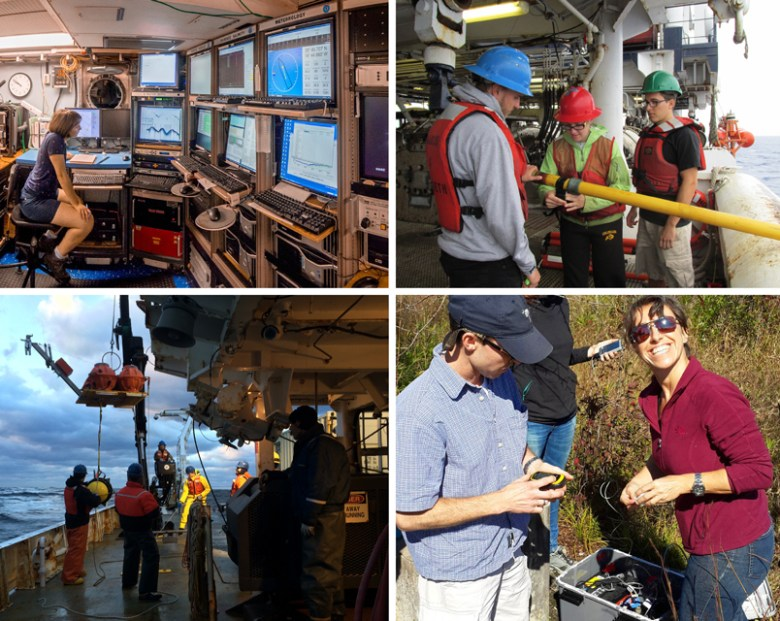 Four photos show students and researchers involved in the Eastern North American Margin Community Seismic Experiment at sea and on land