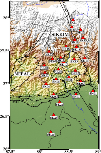 Map of stations in the Sikkim seismic network