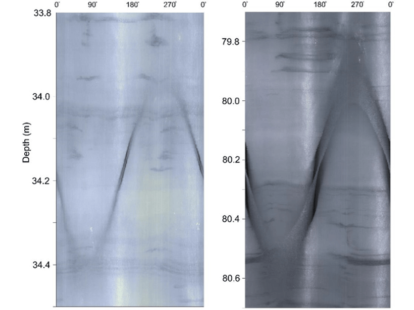 2-D representation of 360-degree borehole images from about 34 and 80 meters deep showing several identified crevasse traces