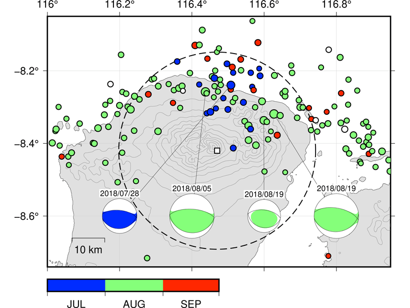 Plot showing seismicity near Mount Rinjani volcanoat Lombok Island, Indonesia, during July-September 2018