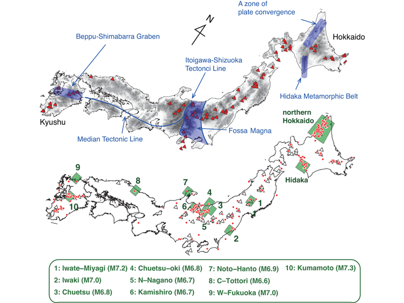 Two maps of the Japanese islands showing distribution of volcanoes (top) and areas of large crustal earthquakes analyzed in this study (bottom).