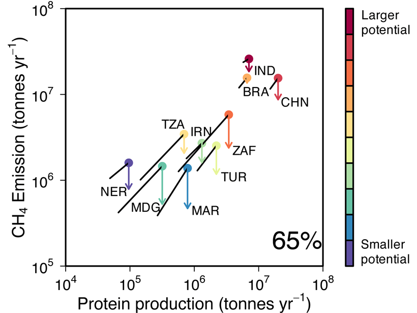 Projections for increases in protein production, methane emissions, and the effects of improving efficiency on reducing livestock methane emissions