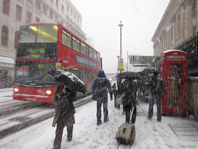 Snow in central London