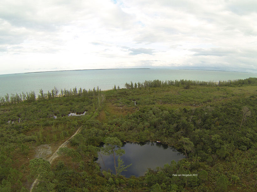 Aerial photo of Blackwood Sinkhole on Great Abaco, the Bahamas