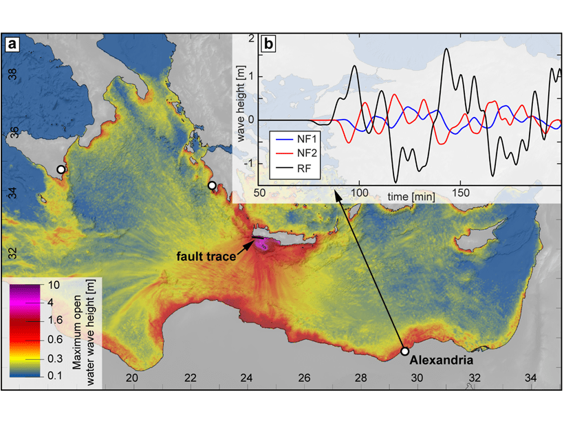 Map of the eastern Mediterranean showing modeled wave height from a magnitude 7.7 normal fault earthquake sourced offshore of southern Crete.