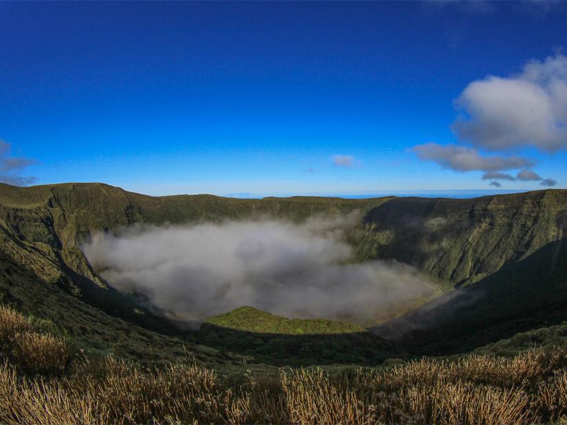 View into Caldeira Volcano on the ocean island of Faial, Azores.