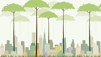 An illustration of trees towering over a city