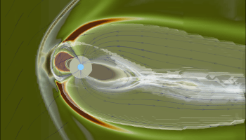 Simulated profile view of Earth's magnetosphere under the influence of a space storm on 12 July 2012