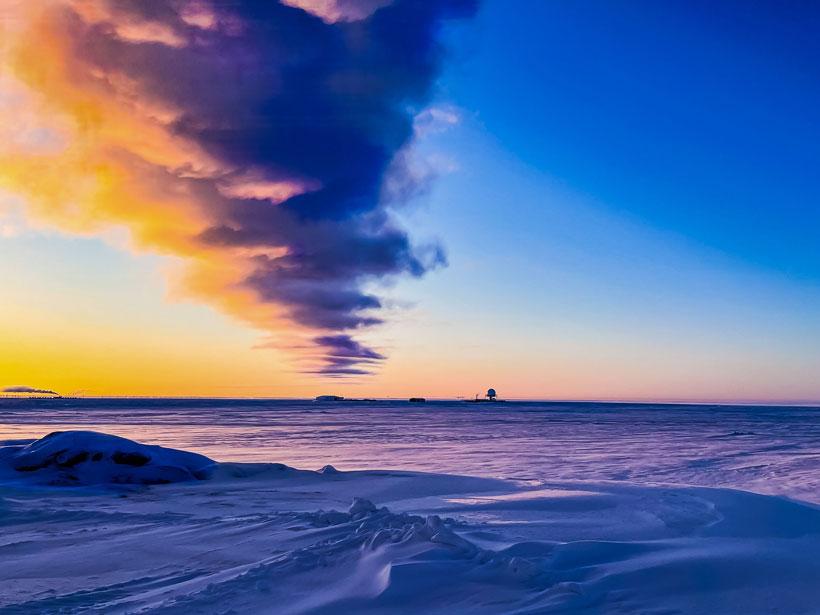 Sunrise over snow.
