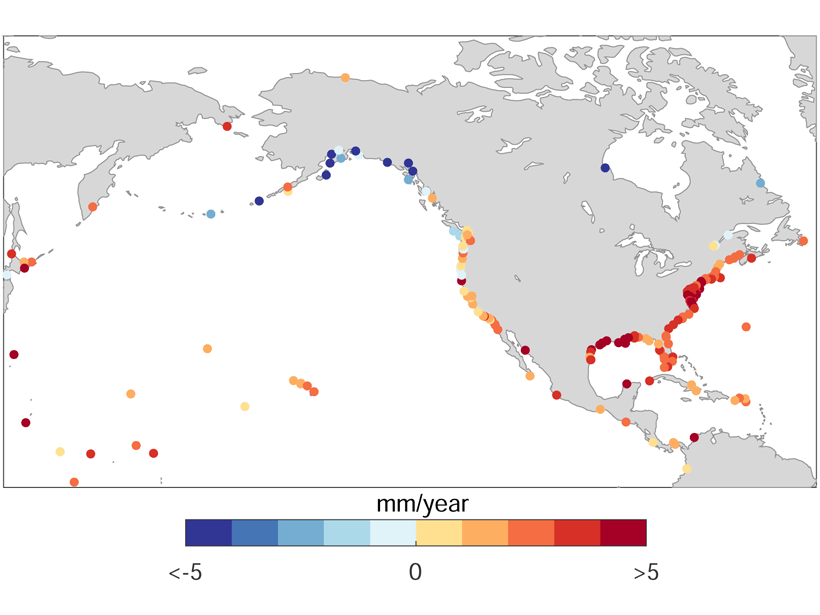 Map showing changes in coastal sea level.