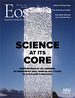 Cover of the July 2021 issue of Eos