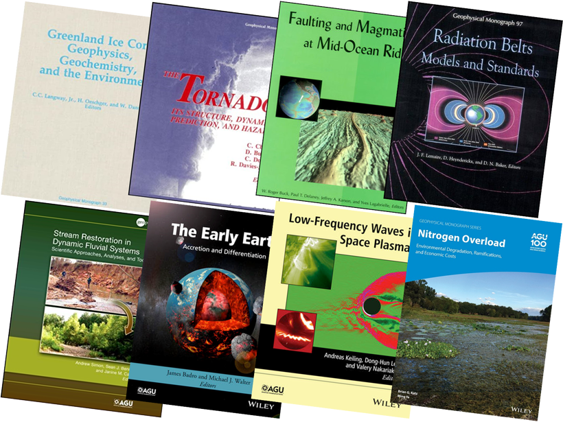 A selection of book covers from the Geophysical Monograph Series, 1956–2020.