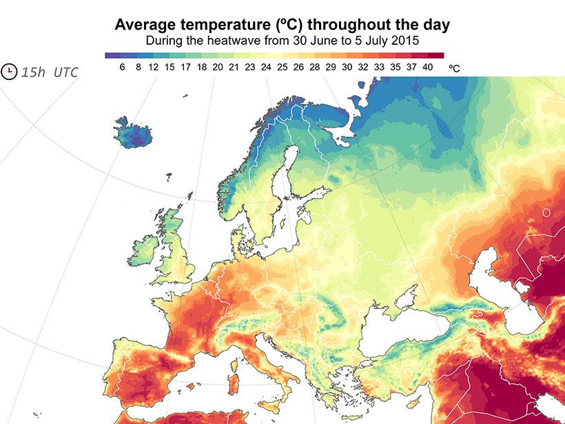 2015年6月20日至7月5日热浪期间,欧洲全天平均气温